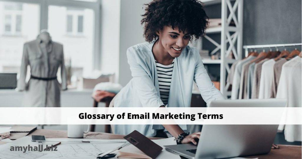 Glossary of Email Marketing Terms  Woman working in a clothing shop checking her email.