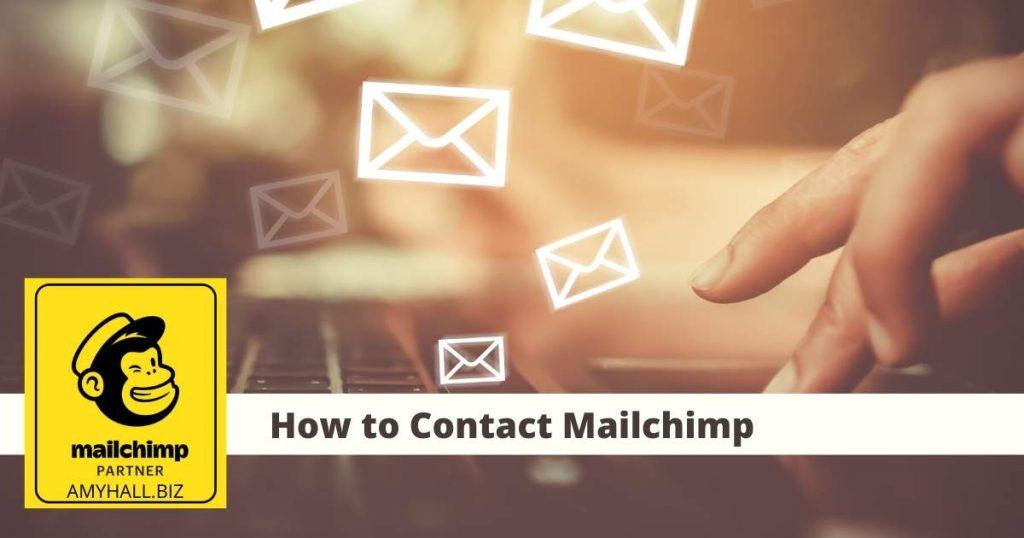 "Fingers on a keyboard with flying email envelopes ""How to Contact Mailchimp"""