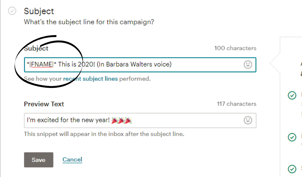 Screenshot of where to add a first name to the subject line of your Mailchimp campaign