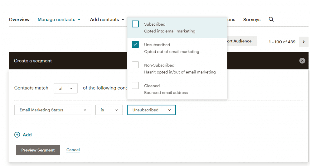 Screenshot how to create a segment of unsubscribed email addresses