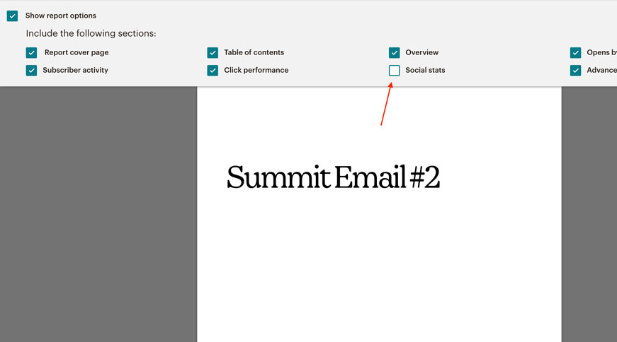 Remove social stats How to print your Mailchimp email campaign report