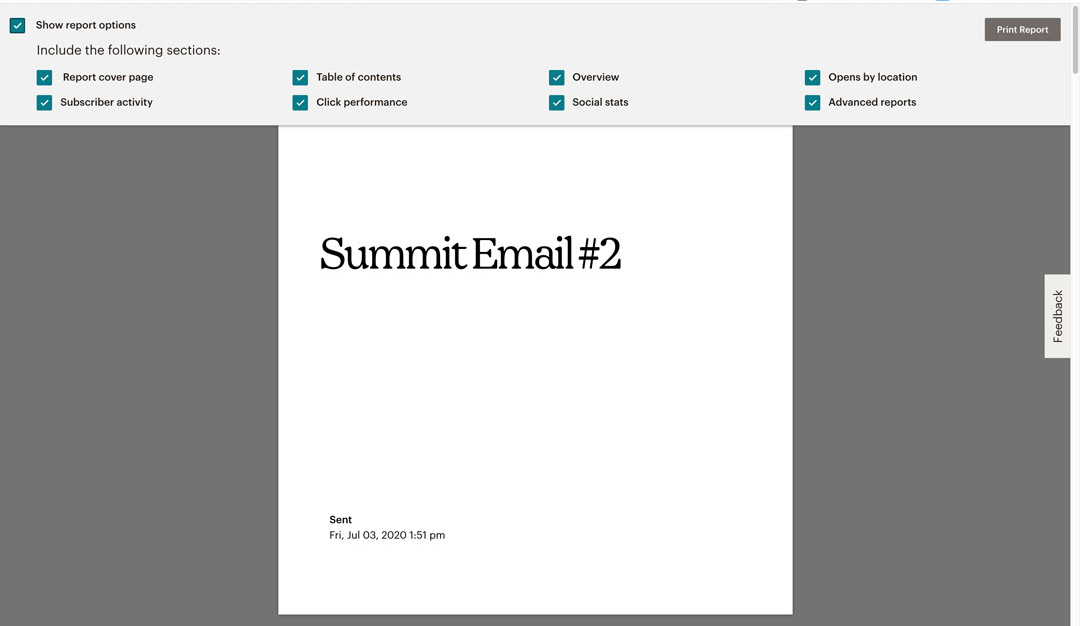 Report options How to print your Mailchimp email campaign report