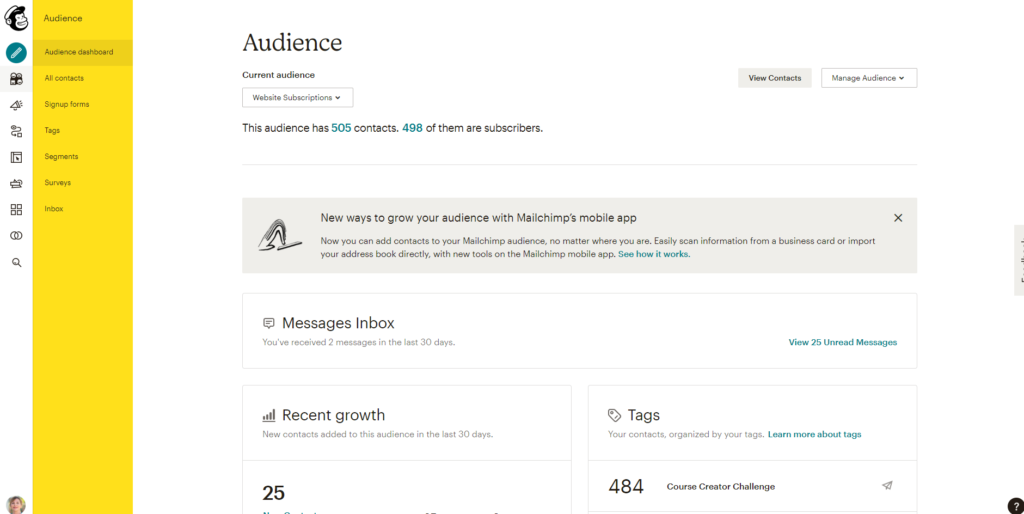 A Look at the New Mailchimp Dashboard