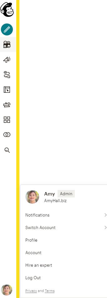 Mailchimp horizontal navigational menu
