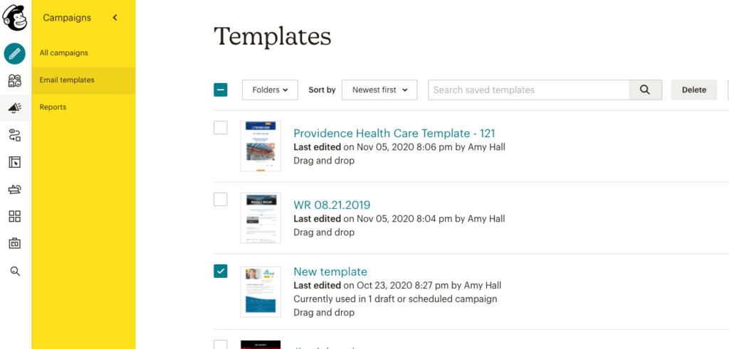 Locate the Mailchimp template you want to share.