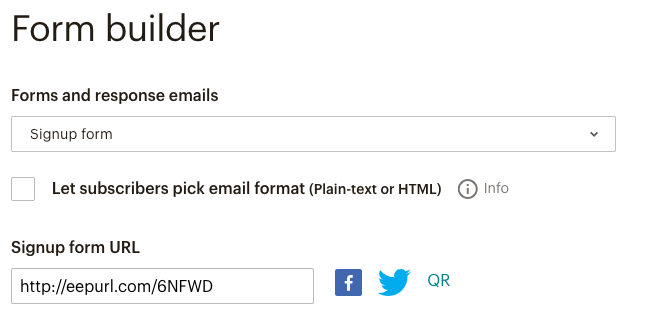Mailchimp email subscription form builder eepurl link to the subscription forms.