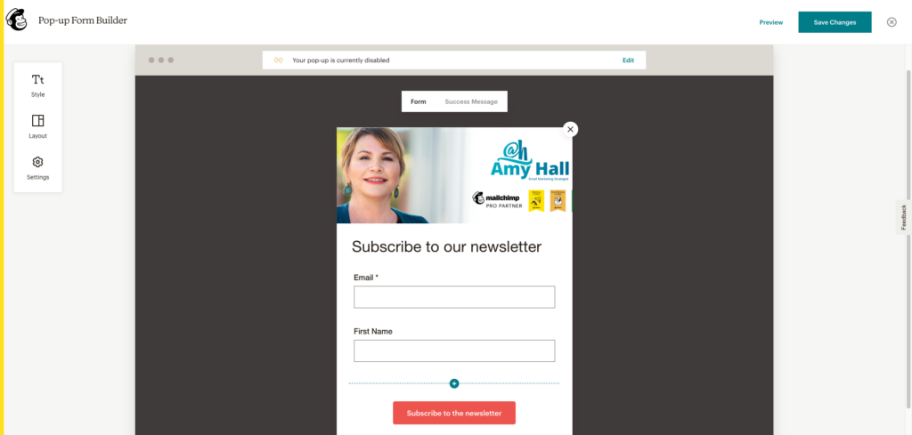 The Mailchimp popup form creation editor.