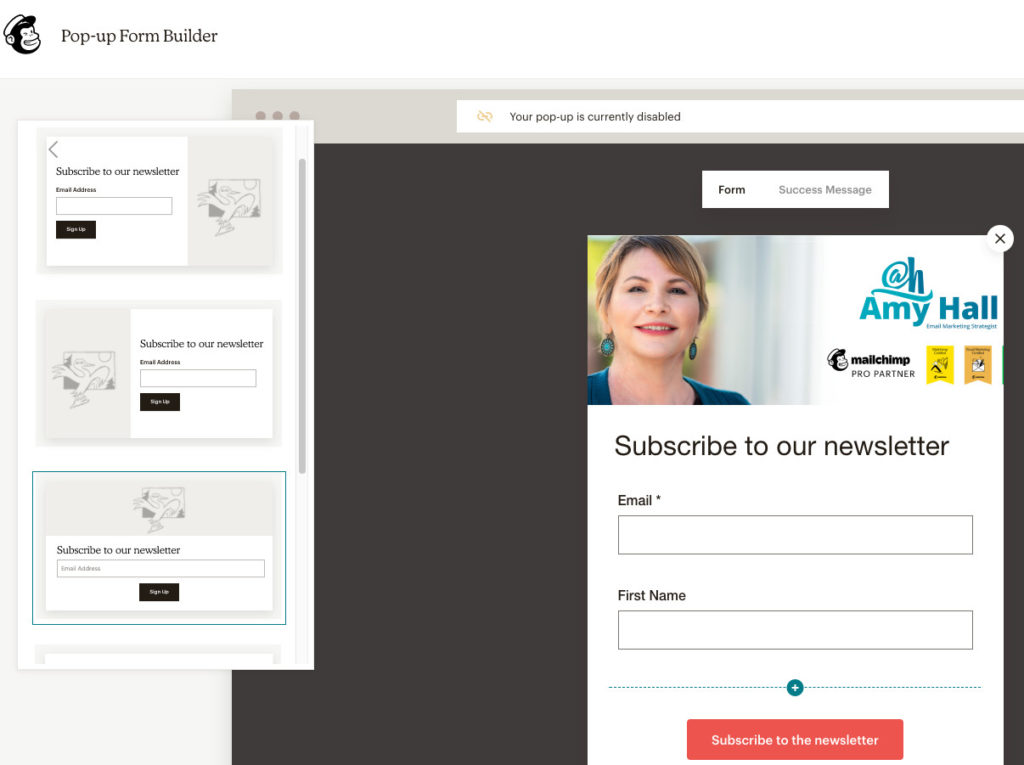The layout capability for a Mailchimp Popup up form.