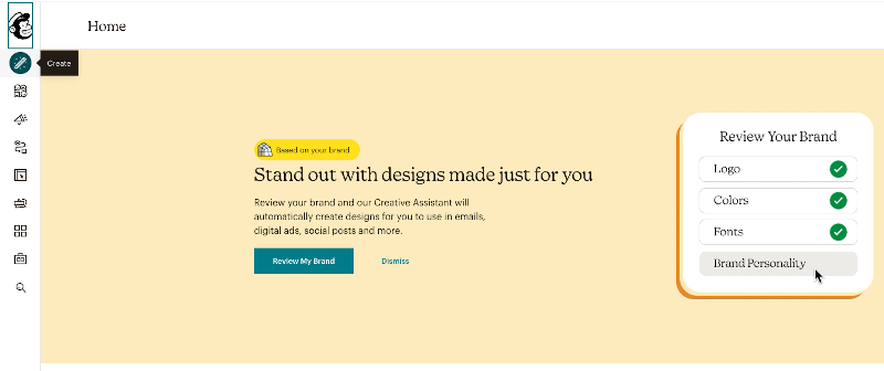 Click on create to make a Mailchimp landing page